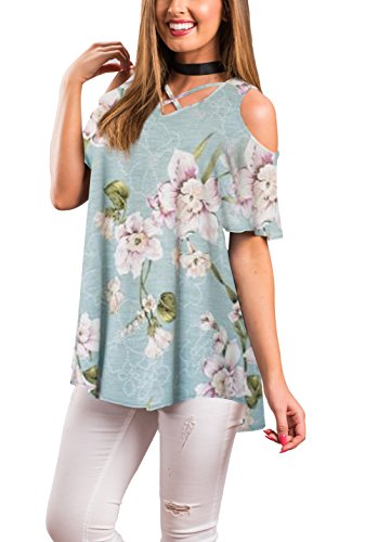 4e102b367296b3 Zzer women s casual floral cold shoulder tunic tops v-neck criss cross t  shirts loose blouses size information in  ...