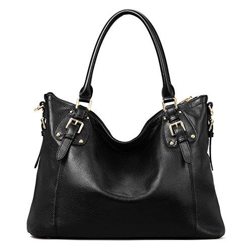eed9c2accf4 Kattee Women's Vintage Genuine Leather Tote Shoulder Bag Black ...